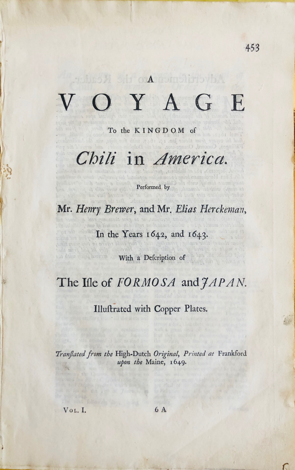 Henry Brewer, Elias Herckeman. A Voyage to the Kingdom of Chili in America.
