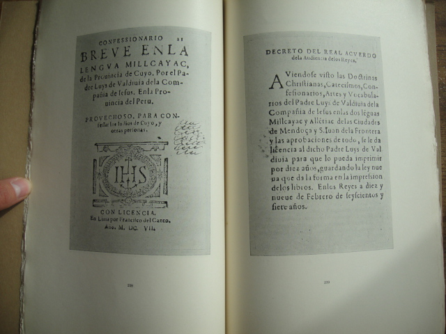 Luis de Valdivia - Discovery Of a Fragment Of The Printed Copy Of The Work On The Millcayac Language
